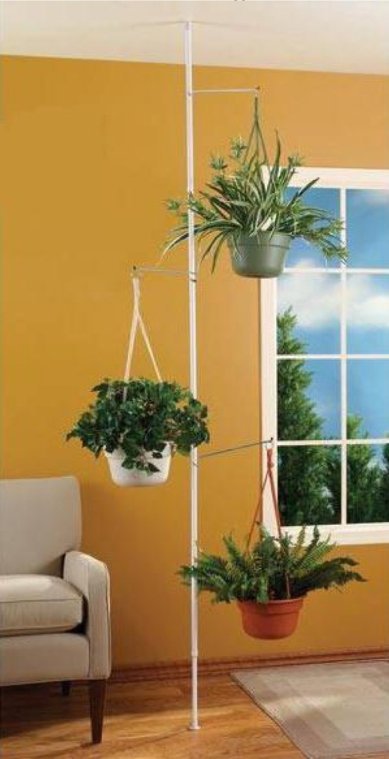 pole stand with spring tension rod
